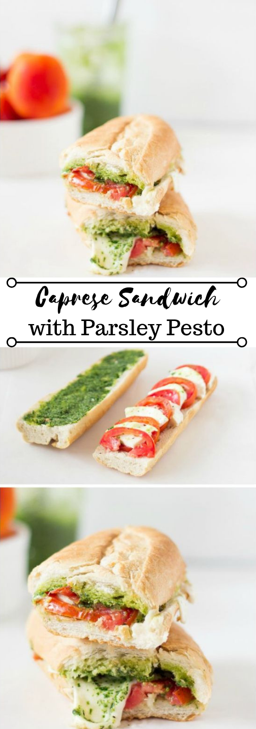 Caprese Sandwich with Parsley Pesto #sandwich #pesto #vegetarian #whole30 #keto