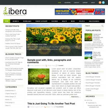 Libera blog template. download 3 column blogger template style. magazine template blogspot.