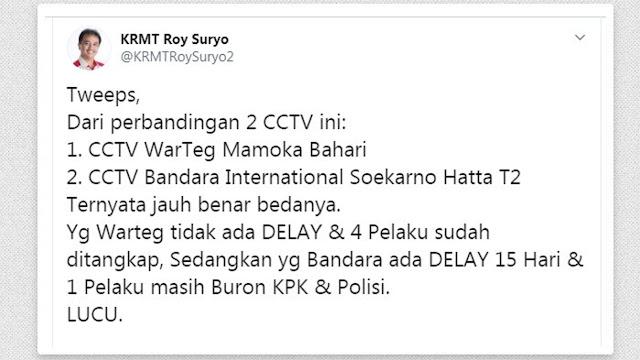 Bandingkan Harun Masiku dan Begal Warteg, Roy Suryo : KPK dan Polisi Lucu!