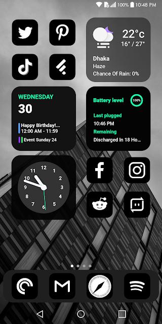 Black iOS 14 Nova Launcher Setup