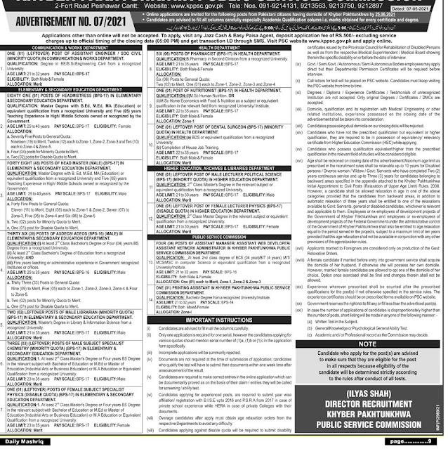 Khyber Pakhtunkhwa Public Service Commission (KPPSC) Jobs 2021 – Jobs in Pakistan 2021