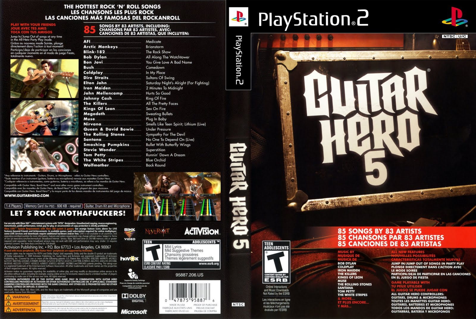 Music Instrument Guitar Hero 5 Ps2 Iso