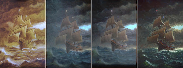 mayflower in storm painting WIP Davey