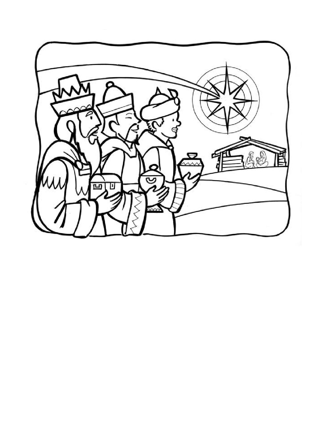 Imagen para Colorear de los Reyes Magos Llegando a Belén