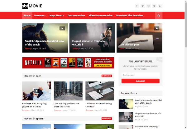 SBT Movie Premium Blogger Template