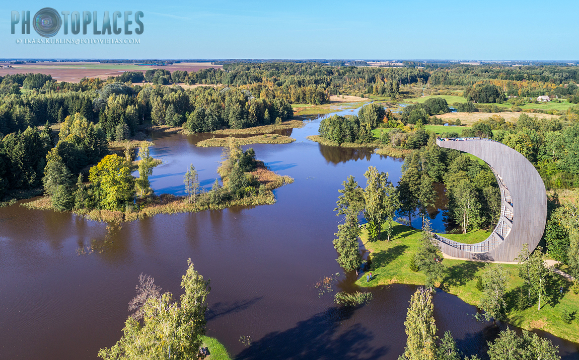 Kirkiliai karst lakes from above