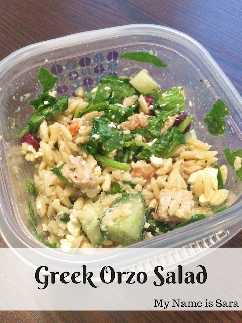 Greek Orzo Pasta Salad | My Name is Sara - mynameissarablog.blogspot.com