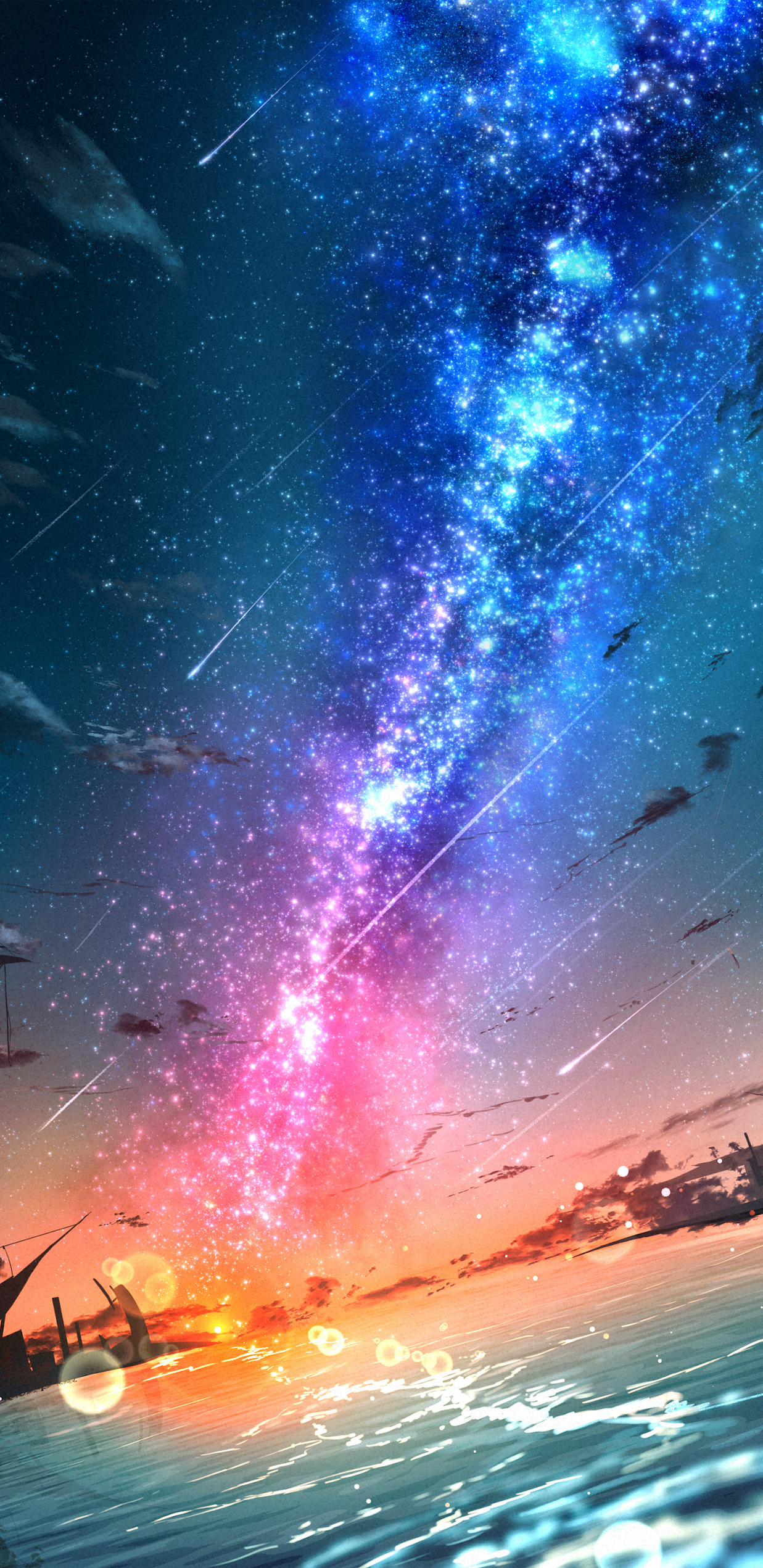 Colorful milky way in the sunset