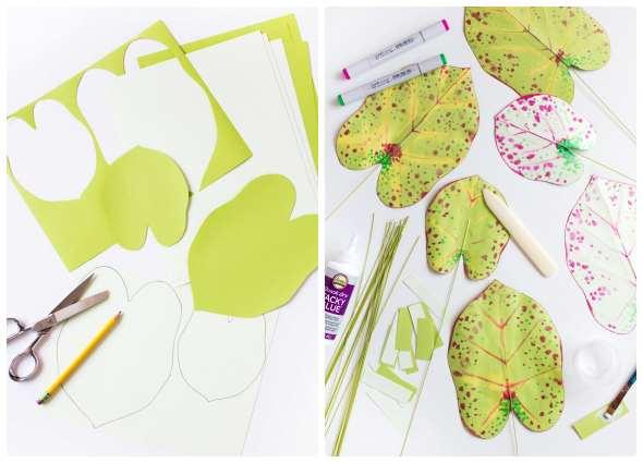 plantas papel, flores origami, manualidades