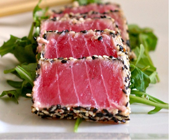Sesame Crusted Tuna Steak On Arugula