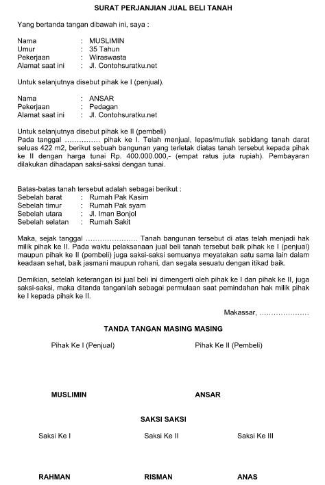 Contoh Surat Perjanjian Pembelian Tanah Terbaru Format ...