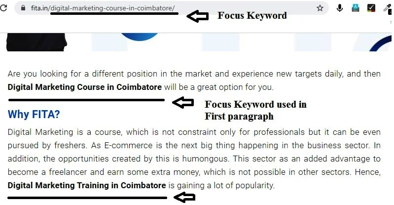 Focus Keyword decorated in First Paragraph