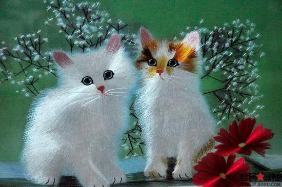 Tranh thêu hai mặt - Hai con mèo con