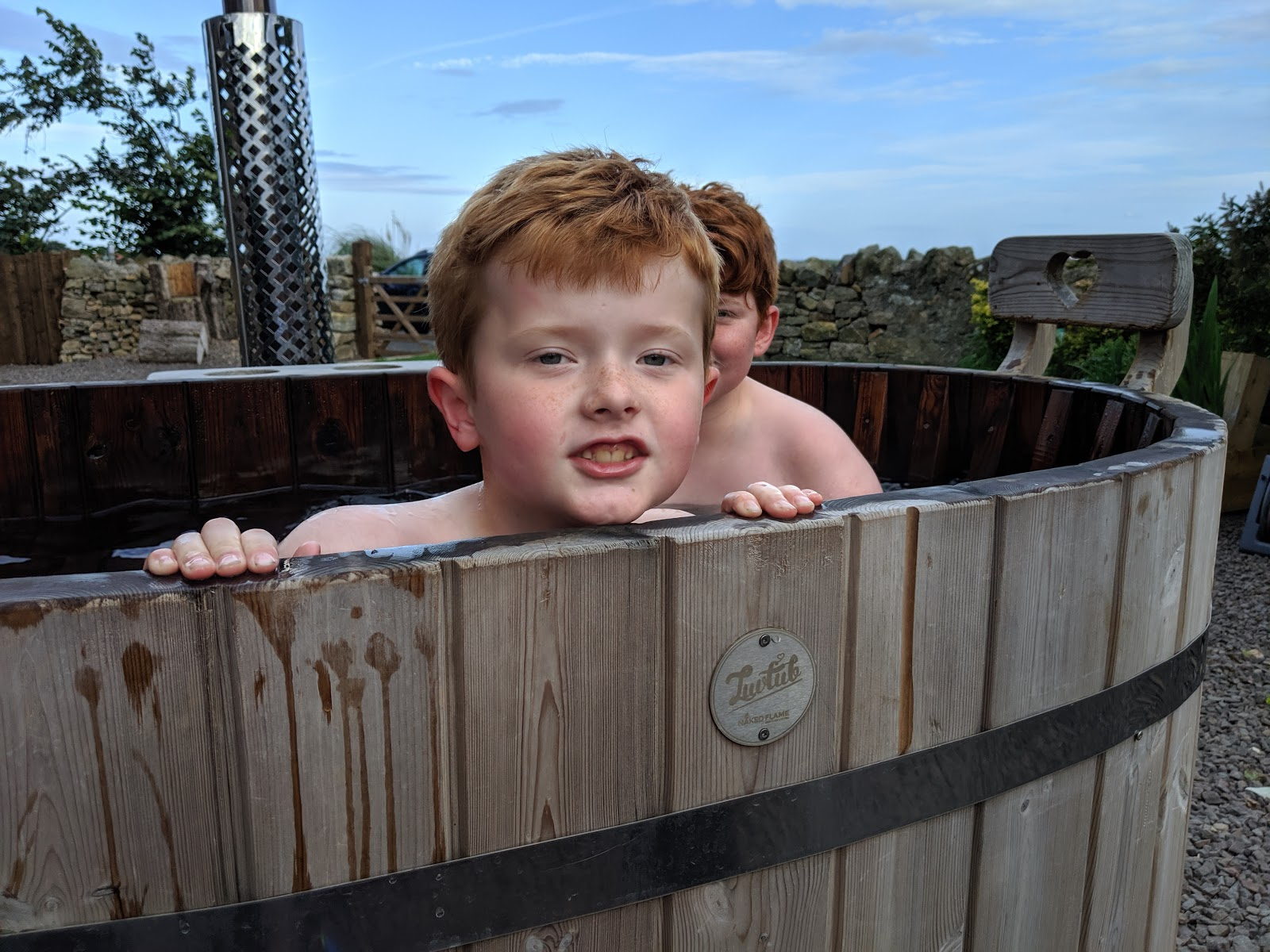 Shepherd's Retreats Beadnell Review - Dog-friendly Glamping in Northumberland - kids in hot tub