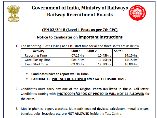 RRB Railway Notice regarding Exam time and shifts for Group D 2018 Exam | rrbcdg.gov.in/