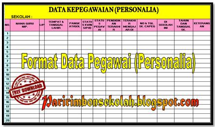 FORMAT DATA PEGAWAI PERSONALIA TERBARU 2017