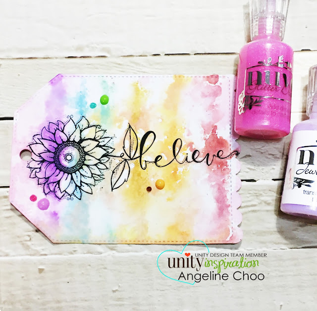 ScrappyScrappy: Believe Rainbow Tag with Unity Stamp #unitystampco #scrappyscrappy #kotm #kitofthemonth #timholtz #distressoxide #tonicstudios #nuvodrops #katscrappiness #katscrappinessdie #rainbow #ombre #stamp #stamping #papercraft