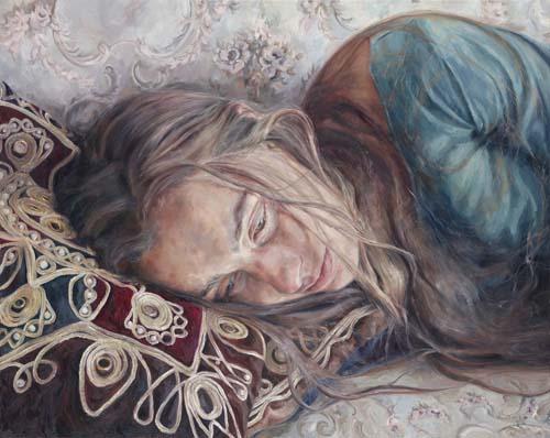 """Girl with long hair"" by Annalisa Avancini   figurative creative emotional paintings, cool stuff, pictures, deep feelings, sad   obras de arte contemporaneo realista, cuadros, imagenes de pinturas tristes bonitas chidas, depresion   peintures   pitturas"
