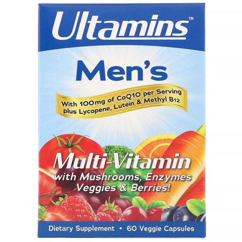 Ultamins, Мужской мультивитаминный комплекс с CoQ10, грибами, ферментами, овощами и ягодами, 60 растительных капсул