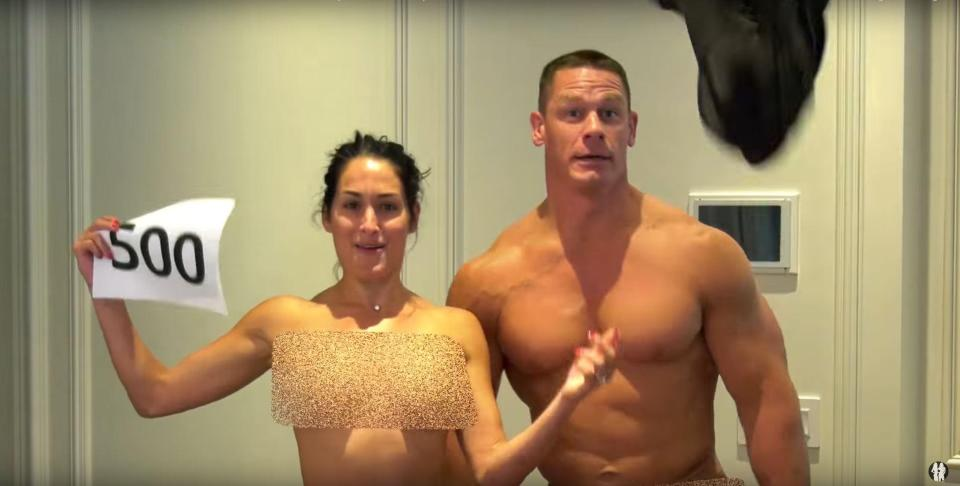 WWE star Nikki Bella strips to celebrate 500,000 YouTube subscribers with John Cena
