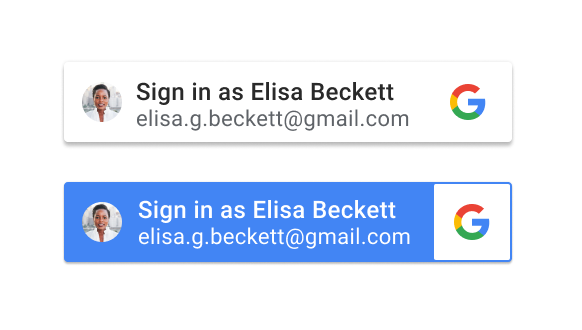 Personalized Sign in with Google button, displayed in a blue or white background