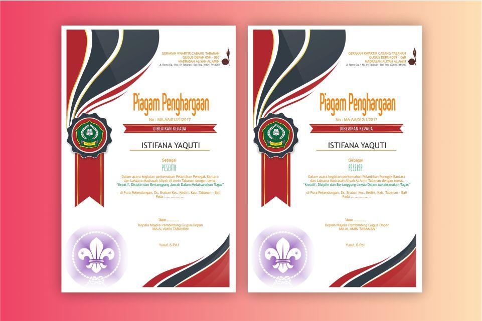 Download Desain Piagam Pramuka Format CDR 2019