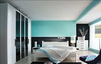 Habitación en negro y turquesa