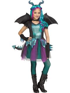 Girls Dark Dragon Costume