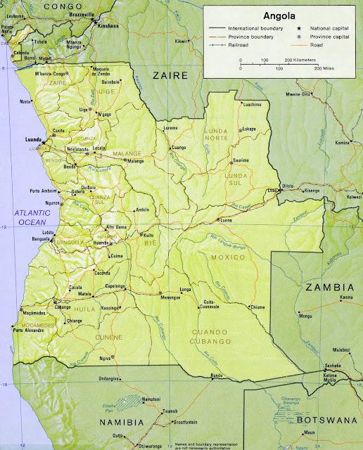 Gambar Peta Relief Negara Angola