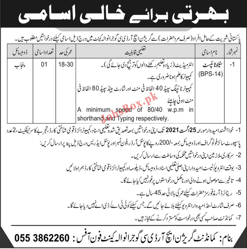 Garrison HRDC Gujranwala Cantt Jobs 2021 in Pakistan