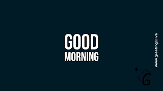 White Good morning text at center of blackish Blue,font of good text height is taller than morning text, Greetings Live labeled right hand side middle edge of image very  small size.