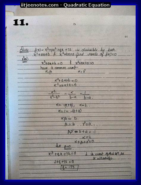 quadratic equation notes cbse1