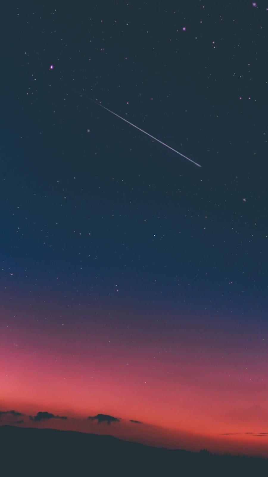 Star fall in the night sky