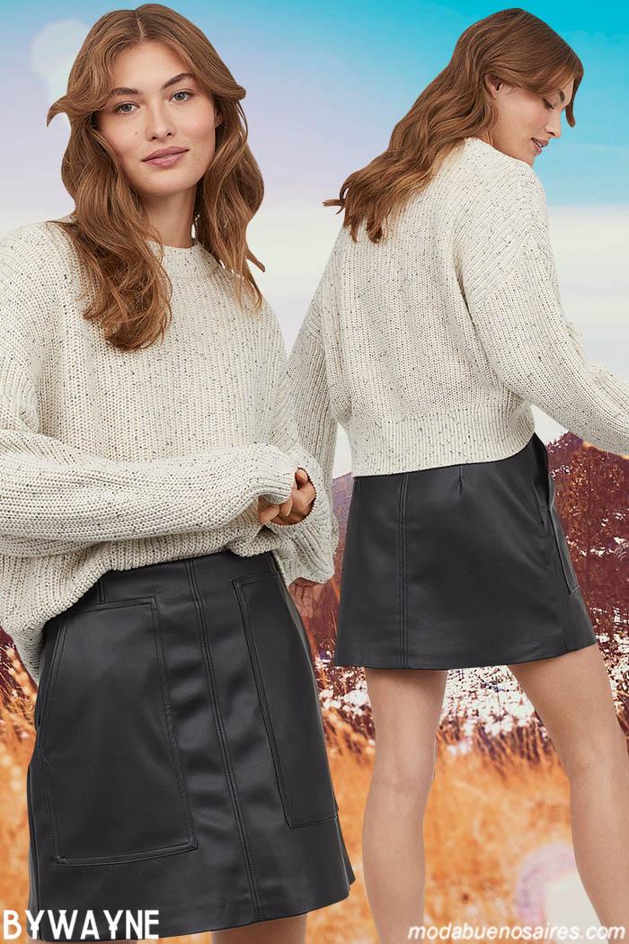 Minifaldas engomadas invierno 2020.