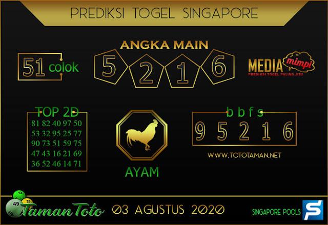Prediksi Togel SINGAPORE TAMAN TOTO 03 AGUSTUS 2020