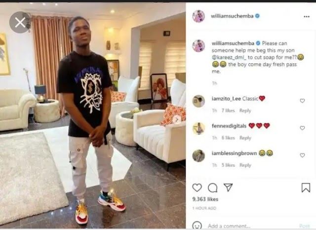 Actor Williams Uchemba leaves fans in awe with transformation photos of 18-year-old carpenter he adopted a year ago