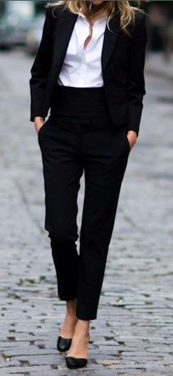 classis office style perfection : shirt + black suit