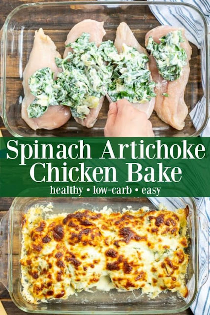Healthy Spinach Artichoke Chicken Bake
