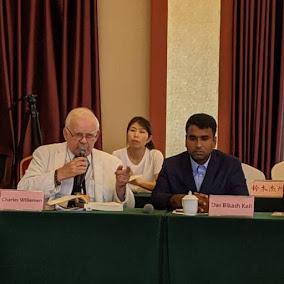 Prof. Charles Willemen(right) International Buddhist College , Dr.Das Bikashkali (center) Shaolin Temple and Zen Ancestral Court Seminar 2019