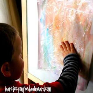 painting ideas for kids - cling film art