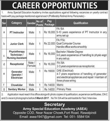 Army Special Education Academy Rawalpindi Jobs on 28 Feb 2017