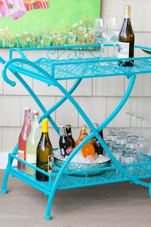 Turquoise Tea Cart, Beverage Station