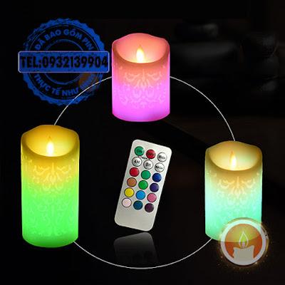 Đèn nến vỏ sáp khắc hoa văn điện tử kèm remote
