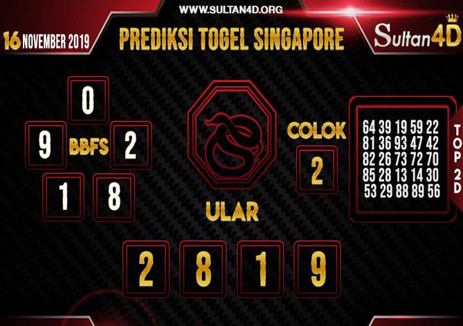 PREDIKSI TOGEL SINGAPORE SULTAN4D 16 NOVEMBER 2019