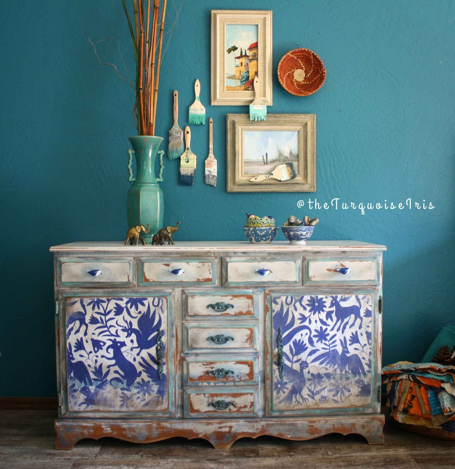 The turquoise iris furniture art hand painted cobalt for Hand painted furniture