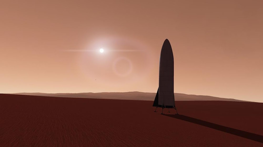 SpaceX BFR spaceship on Mars at dawn