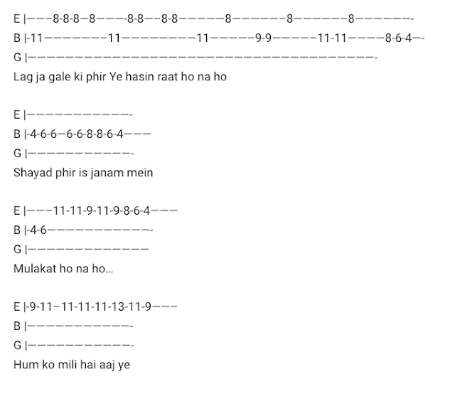 Lag Ja Gale Tab Guitar Tabs Lag Ja Gale Lead – Woh Kaun Thi / Old Hindi Songs Tabs / Old Best of Bollywood / Lata Mangeskar