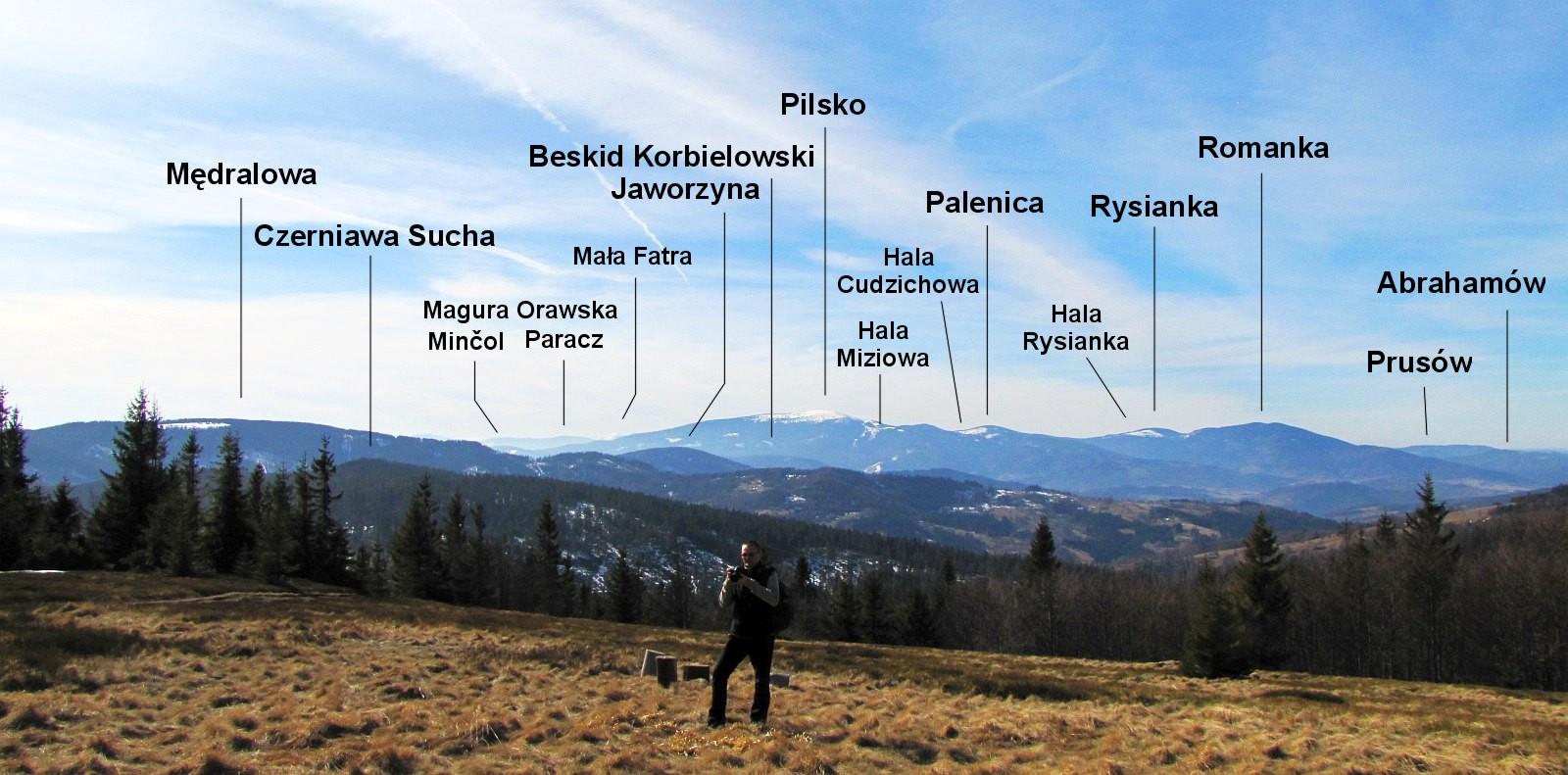 Panorama w stronę zachodniej części Beskidu Żywieckiego.