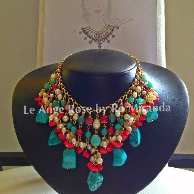 e7f4785a862 Le Ange Rose  Maxi colar ousadia colorida