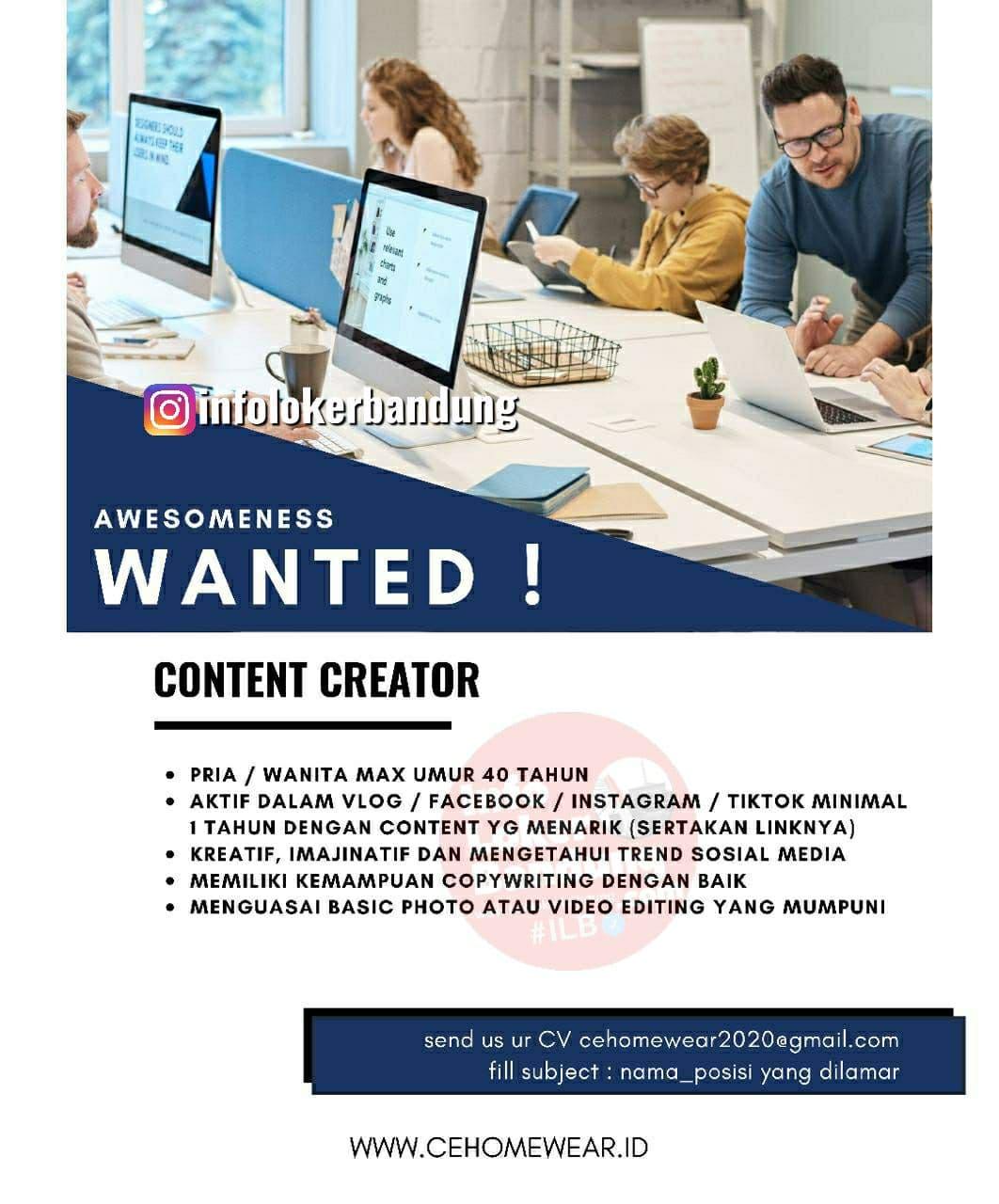 Lowongan Kerja Content Creator Cehomewear Bandung Juli 2021